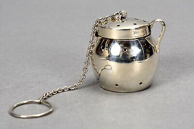 Vintage Sterling Silver Tea Infuser Steeper on Chain w/ Ring .77 ozt