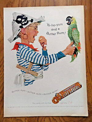 1957 Life Savers Candy Ad Butter Rum   Pirate & Parrot Theme Yo Ho Yum