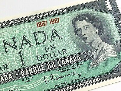 1967 Centennial 100 Year Canada 1 One Dollar Uncirculated Canadian Banknote J117