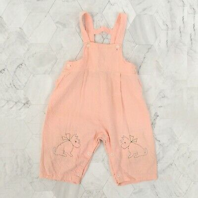 Vintage 40s Young Fair Togs Toddler Child Pink Cotton Scottie Dog Romper Overall