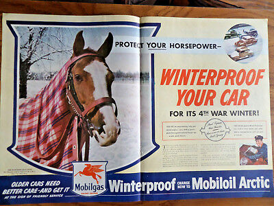Original 1942 Print Ad Mobilgas Mobiloil Red Horse Wartime Car Service Pays Wide Selection; 1940-49