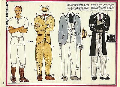 Urban Vintage Swedish Paper Doll late 1800s century clothes
