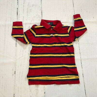 Polo Ralph Lauren Toddler Boys Long Sleeve Polo Shirt Size 3/3T Red Stripes E15