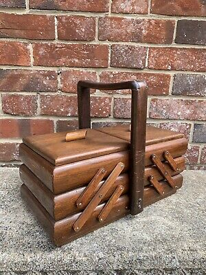Traditional  Vintage Large Cantilever Sewing Box / Craft Box