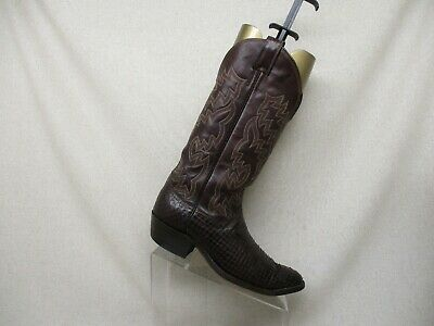 ea4d753379e JUSTIN BROWN LEATHER Snake Skin Cowboy Western Boots Mens Size 8.5 D Style  3661