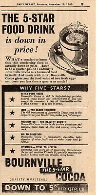 Bournville Cocoa vintage wartime Advert 1940  WW2