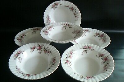 ROYAL ALBERT Lavender Rose China Rimmed Soup / Fruit Bowls x 6