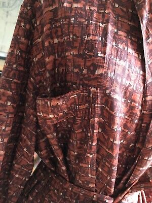 "1940- 50s Vintage Silky Dressing Gown Housecoat Smoking Jacket 46""  Dandy Dapper"