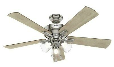 Hunter Crestfield 52 in. Indoor Brushed Nickel Ceiling Fan with 3-Light Kit