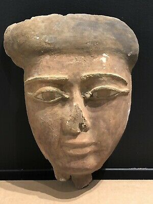 Ancient Egyptian Mummy Wood Mask With Bronze Eyes c.664-332 BC.