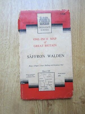 Ordnance Survey 1960 Vintage  Map 148 Saffron Walden inc Haverhill Stortford