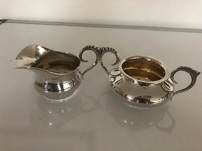 Nice Solid Silver & Gilt Milk Jug And Sugar Bowl  (Chester 1907) 151G Combined