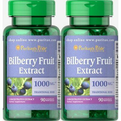 (2) Puritans Pride BILBERRY FRUIT EXTRACT 1000mg Vision Health 90x2=180 SoftGels