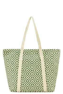 Beach Bags Large Summer Tote Bags with Zipper Closure Shoulder Bag Green Diamond
