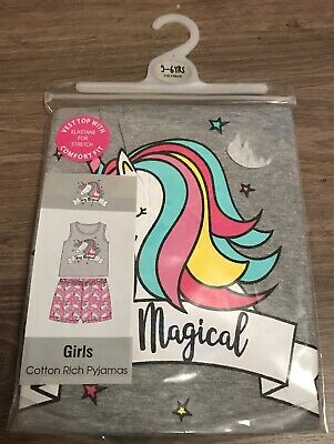 Girls Unicorn Pyjamas Pjs Age 5-6 Years Gift Present Vest & Shorts Summer