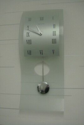 Franz Hermle The Modern  Wall  Pendulum Clock. Glass. Grey. Battery Powered.