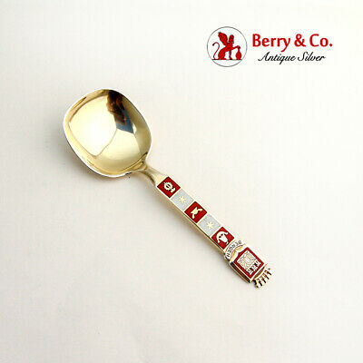 Souvenir Spoon Bergen Norway Sterling Silver White Red Enamel