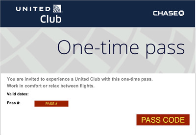 United Club One Time Passes, 2 passes EXP: 07MAY2020 Email delivery today SALE