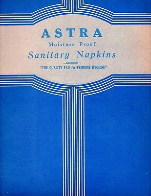 """early 1900s vintage box top sanitary napkins """"Astra"""" graphic design advertising"""