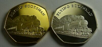 2x THE FLYING SCOTSMAN Steam Engine Collectable Medal/Tokens, Silver & 24ct Gold