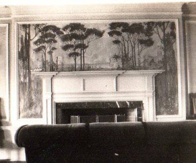 1920s Vintage snapshot Arts and Crafts mural over mantel open twist candlesticks