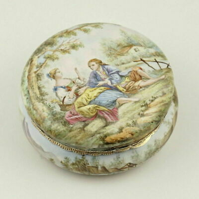 Antique French Enamel Snuff Box .800 Silver Mounts Gilded Interior Country Scene
