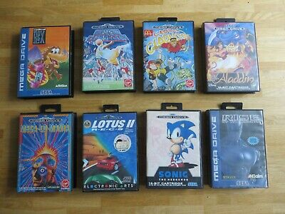 8 Sega Mega Drive OVPs + 6 Anleitungen Instruction Manuals: Radical Rex Aladdin