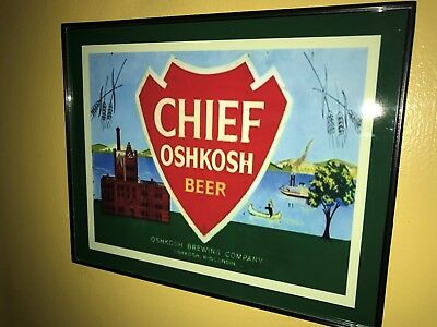 Chief Oshkosh Wisconsin Beer Bar Framed Advertising Print Man Cave Sign