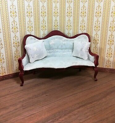 Dollhouse Miniature Sofa Couch Victorian White with Pillows 1:12 Scale Furniture