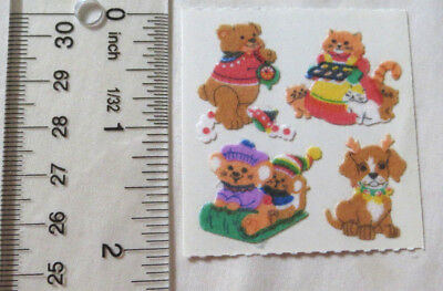 Sandylion FUZZY ANIMALS AND WINTER TIME FUN - 1 Square RARE RETIRED Stickers