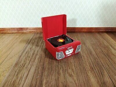 Dollhouse Miniature 1950s Style Red Turntable Record Player 1:12 Scale