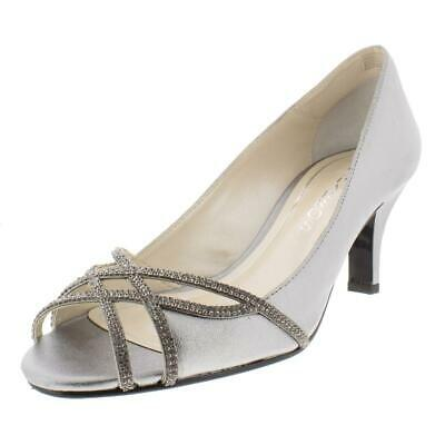 9f2bc8ec4 Caparros Womens Eliza Silver Peep-Toe Heels Shoes 9 Medium (B