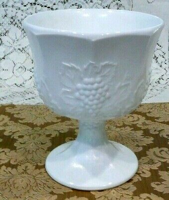 Compote Candy Dish, Milk Glass with Grapes and Leaves