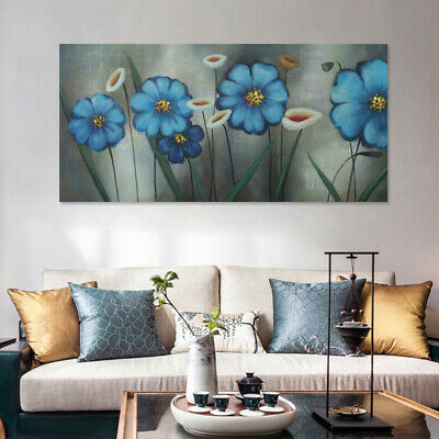 Handmade Modern Abstract Oil Painting Framed Canvas Wall Art Home Decor Flowers