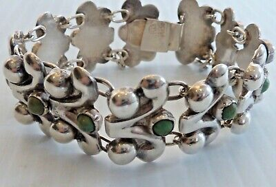 Frederick Davis Mexican Sterling Link Bracelet W/ Small Round Turquoise Stones Vintage & Antique Jewelry
