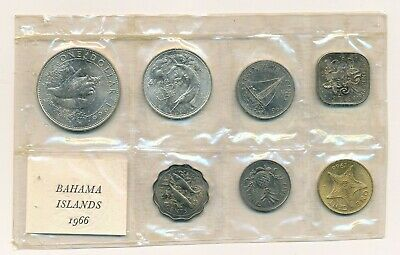 1966 Bahamas Mint Set - Brilliant Uncirculated BU Mint Packaging 2 Silver Coins