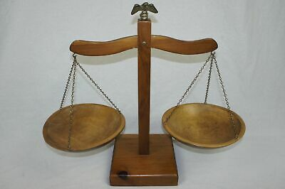 """Old Vintage Large 17.5"""" Tall Decorative Wooden Balance Scale W/ Brass Eagle"""