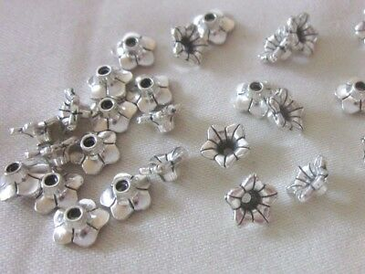 30 Silver Coloured 8mm x 4mm Flower Bead Caps #bc3278 Jewellery Making Findings