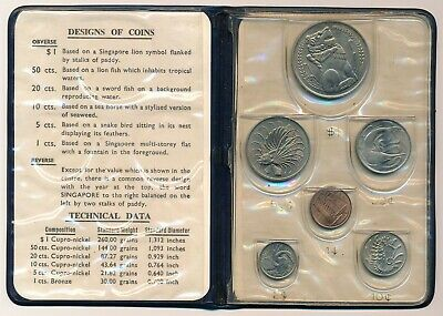 1967 Singapore Mint Set Blue Wallet 1 Cent - 1 Dollar UNC / BU Coins
