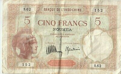 Banknote 1926 New Caledonia 5 franc Noumea overprint on Indo China issue, nice