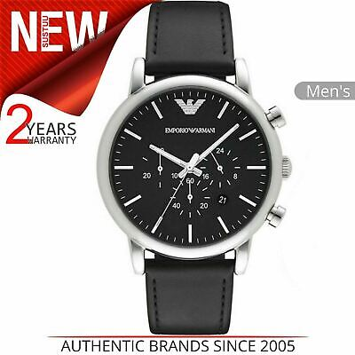 Emporio Armani Classic Men's Watch AR8029¦Black Chronograph Dial¦Leather Strap