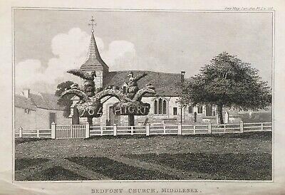 1825 Antique Print; St Mary's Church & Topiary, Bedfont, London