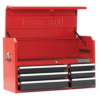 "Craftsman 41"" 6 Drawer Soft-Close Top Chest Tools Tool Chest Mechanic  Red/Black"