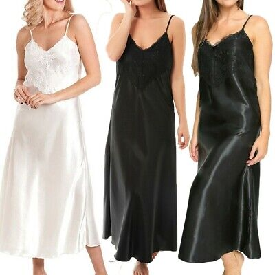 Ladies Satin Soft Long Nightdress Nightie Deep Lace Front Lace Detail Lingerie