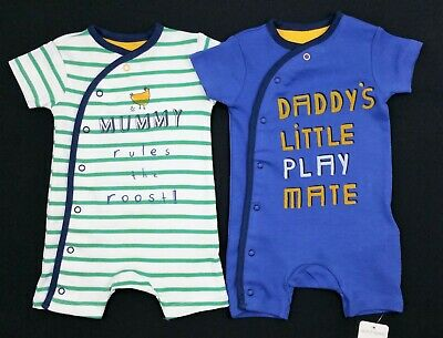 Baby Boys Clothes X2 PACK 'MUMMY DADDY' Shorts Romper Outfit 0-3/3-6 Months BNWT