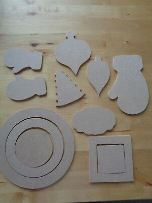 Dreamees Set Of 12 Christmas Mdf Shapes - New - Ready To Decorate