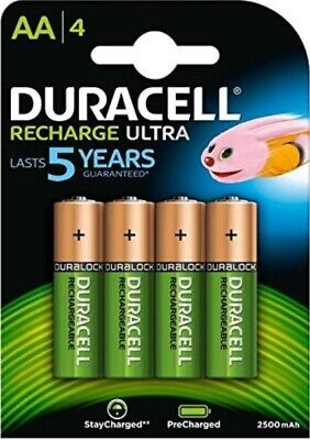 4 Duracell Rechargeable AA Battery 2500mAh Recharge Ultra StayCharged Precharged