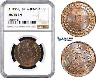 AA717, Tunisia, French Protectorate, 10 Centimes AH1308/1891- A, Paris, NGC MS65
