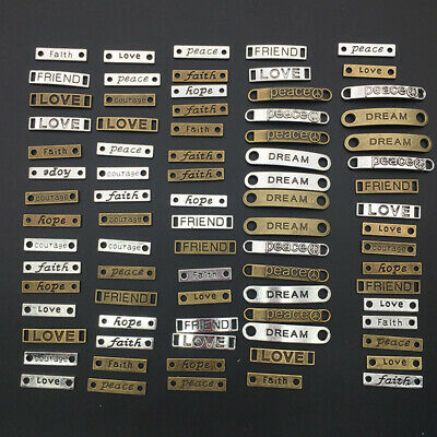 80Pcs Craft Supplies Mixed Words Letters Connector Pendants Beads Charms Pendant