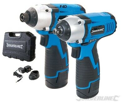 "Silverline 10.8V Li-Ion  3/8"" Impact Wrench & 1/4"" Impact Driver Cordless 459654"